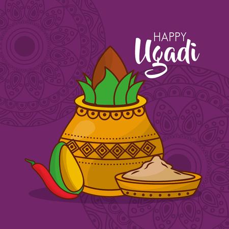 happy ugadi poster indian fest celebration vector illustration