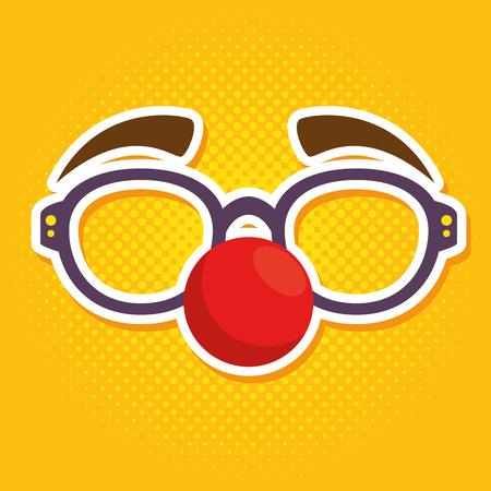 red nose day fool clown glasses with red nose vector illustration graphic design Ilustração
