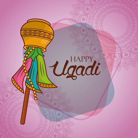 happy ugadi creative greeting card traditional party vector illustration