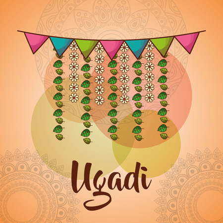 ugadi celebration garland flowers mandala decoration vector illustration