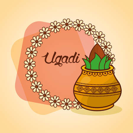 happy ugadi decorated kalash wreath floral vector illustration