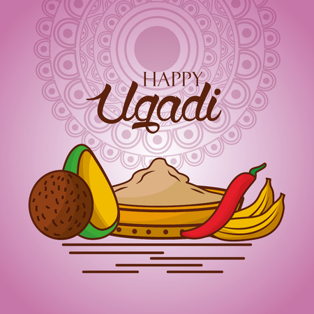 happy ugadi indian food traditional mandala background vector illustration Illustration