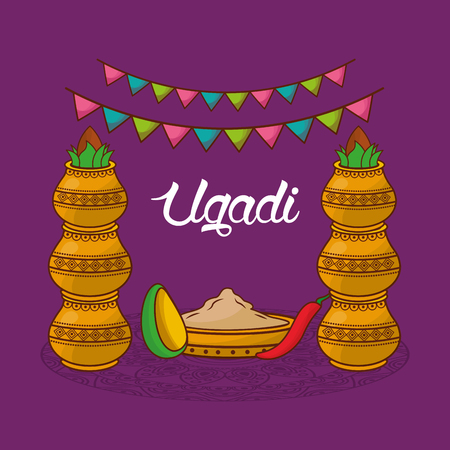 ugadi traditional celebration decorative kalash garland vector illustration Illustration
