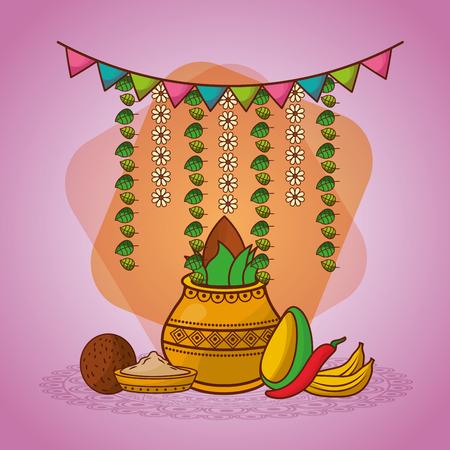 indian kalash coconut chili pepper garland decoration vector illustration Illustration