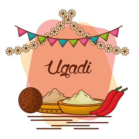 ugadi set greeting card pot coconut flowers of neem tree pepper sugar salts vector illustration
