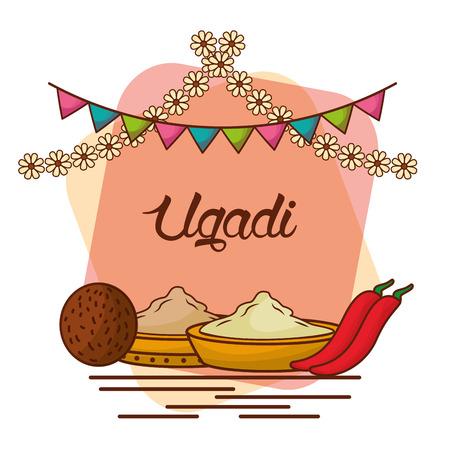 ugadi 세트 인사말 카드 냄비 코코넛 꽃 neem 트리 후추 설탕 염 벡터 일러스트 레이션