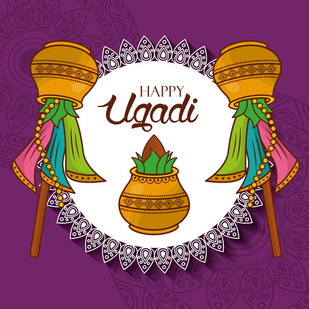 happy ugadi new year celebration hindu vector illustration