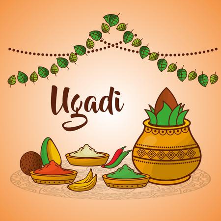ugadi keramische pot voedsel specerijen kokosnoot decoratie traditionele vector illustratie Stock Illustratie
