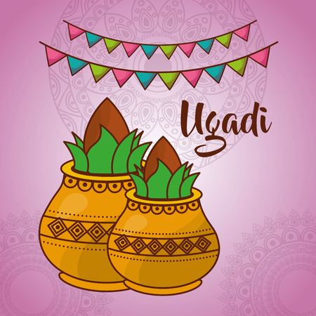 ugadi two ceramic pot kalash culture celebration vector illustration Illustration