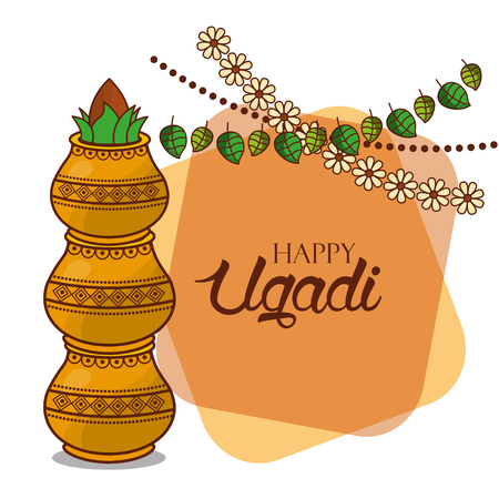 happy ugadi card floral garland kalash decorative vector illustration