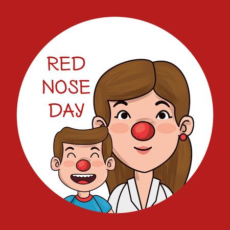People with red nose graphic design Ilustração