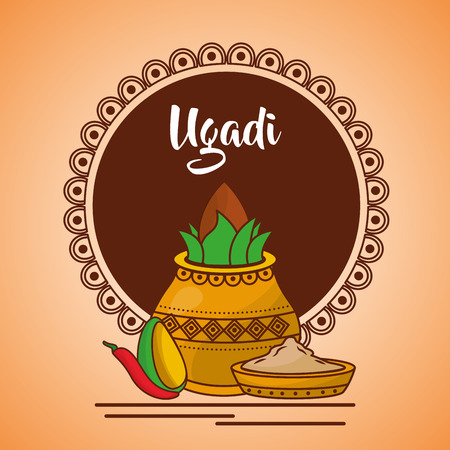 ugadi ceramic pot avocado and pepper card vector illustration Stock Vector - 94975478