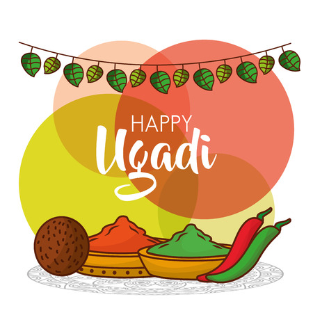 happy ugadi greeting card with decorative spices pepper and coconut vector illustration Stock Vector - 94975479