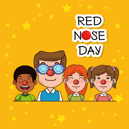 People with red nose graphic design Illustration
