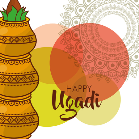 happy ugadi traditional festival hindu celebration vector illustration