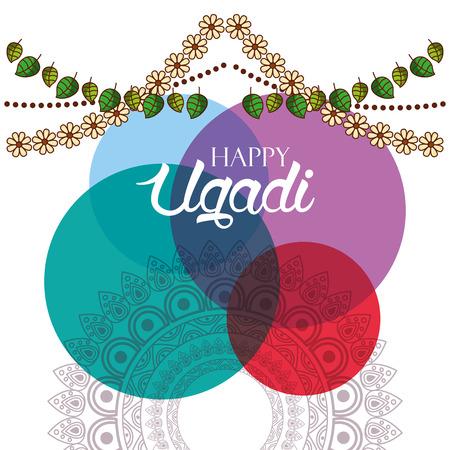 happy ugadi card watercolor circles floral garland vector illustration