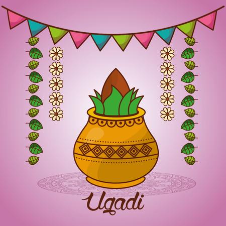 happy ugadi festival set template greeting card pot coconut flowers of neem tree vector illustration