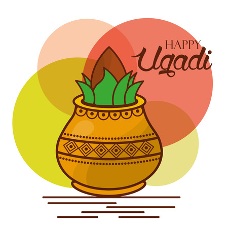 Happy ugadi greeting card celebration festival vector illustration