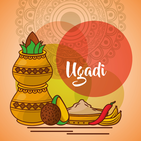 uappy ugadi template greeting card set ccessories pot coconut vector illustration