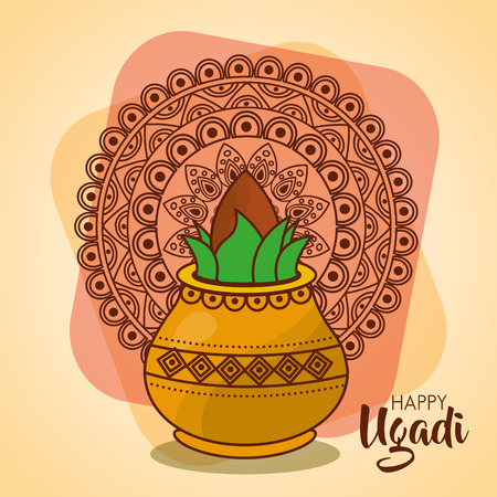 happy ugadi card template with pot coconut mandala vector illustration Illustration