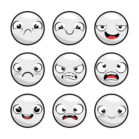 set of emoji emoticon cartoon vector illustration graphic design