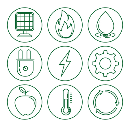 Set of eco energy elements environmental and ecology concept vector illustration graphic design