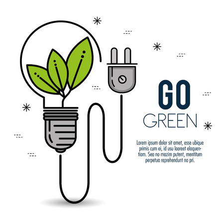 green eco bulb light ecology and environmental concept vector illustration graphic design