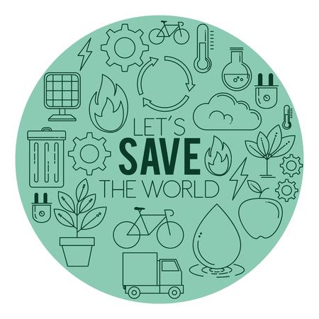 ECOエネルギーは緑の環境と生態学の背景ベクトルイラストグラフィックデザインを行く