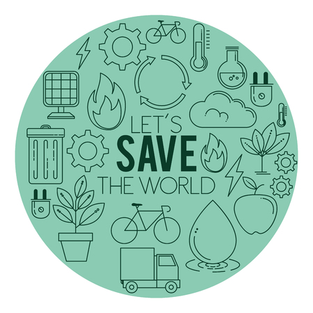 ECO energy go green environmental and ecology background vector illustration graphic design Vettoriali