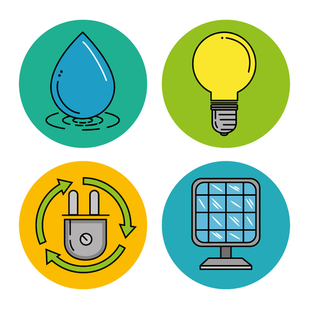 Set of eco energy elements environmental and ecology concept vector illustration graphic design. Ilustracja