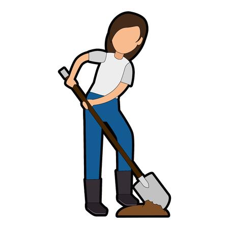Woman gardener with shovel avatar character vector illustration design