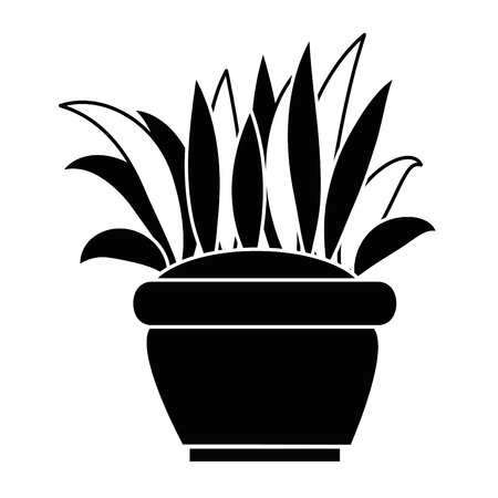 Silhouette of bush cultivated in pot. vector illustration design