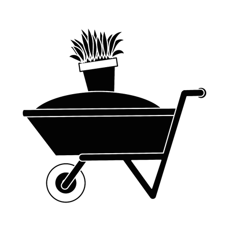 Wheelbarrow with ground and pot vector illustration design