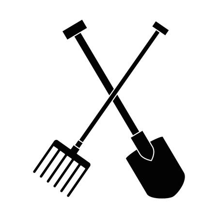 Gardening shovel and rake isolated icon vector illustration design  イラスト・ベクター素材