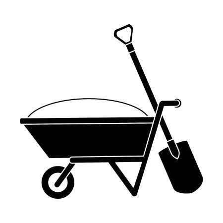 Wheelbarrow with ground and shovel vector illustration design