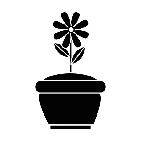 beautiful flower cultivated in pot vector illustration design