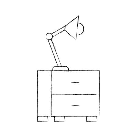 Cassetto dell'ufficio con progettazione dell'illustrazione di vettore della lampada Archivio Fotografico - 94982653