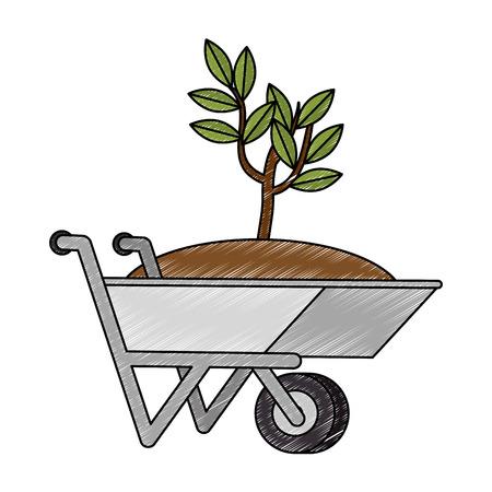 wheelbarrow with ground and plant icon vector illustration design