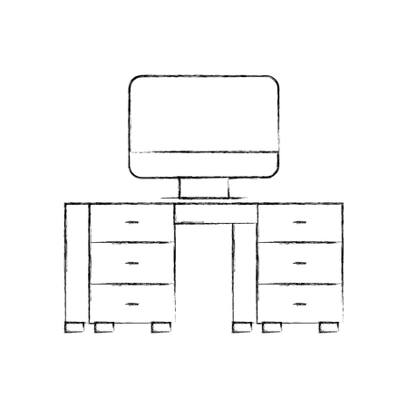 office desk with computer vector illustration design Ilustracja