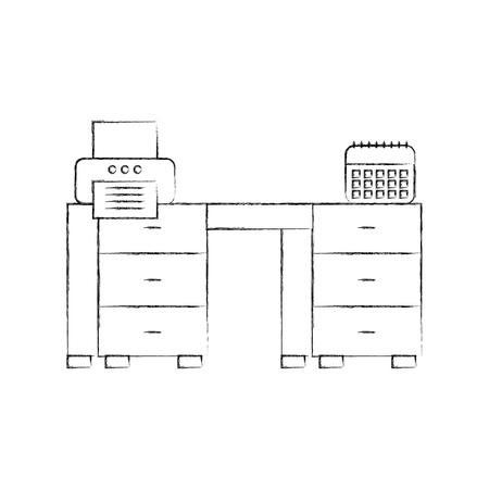 office desk with calendar and printer vector illustration design Ilustracja