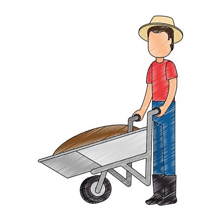 man gardener with wheelbarrow avatar character vector illustration design