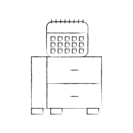 Cassetto dell'ufficio con progettazione dell'illustrazione di vettore del calendario Archivio Fotografico - 94983531