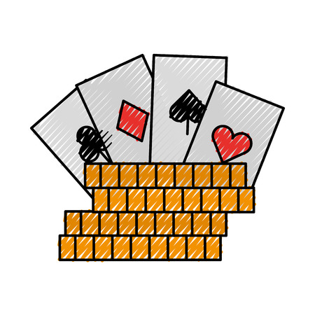 casino chips with poker cards vector illustration design 向量圖像