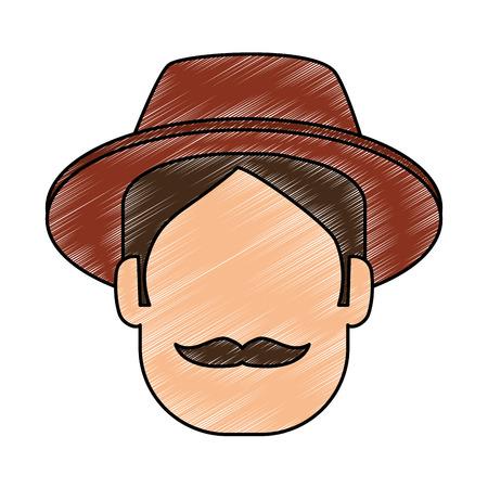 man gardener with hat avatar character avatar character vector illustration design Illusztráció