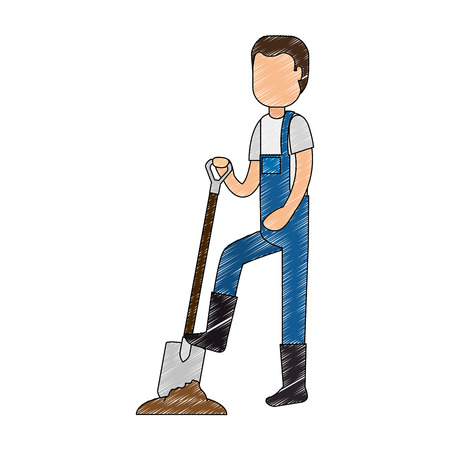 man gardener with shovel avatar character vector illustration design