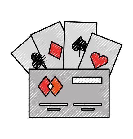 poker cards with credit card vector illustration design