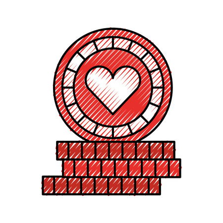 casino chips with heart vector illustration design