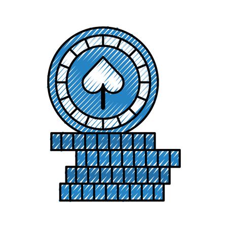 スペードベクトルイラストデザインのカジノチップ
