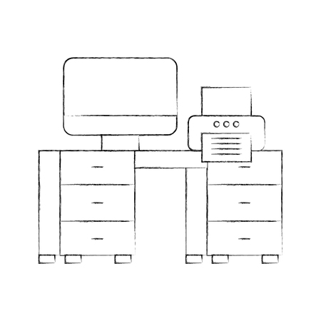 office desk with computer and printer vector illustration design