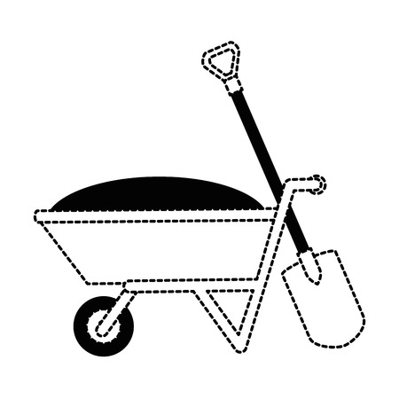 wheelbarrow with ground and shovel vector illustration design
